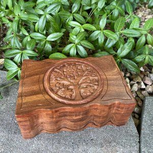 Tree of Life Wooden Tarot Card Altar Box FIRM